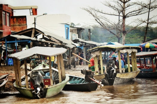 Laberinto, a small mining pueblo that serves as a riverine transportation hub to several mining communities and operations along the Madre de Dios River.